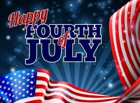 A Fourth of July Independence Day background with an American Flag border design Vectores