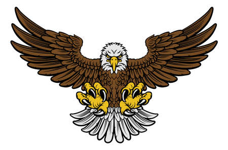 Cartoon bald American eagle mascot swooping with claws out and wings outstretched. Four color version with only brown, lightgrey, yellow and black Ilustração