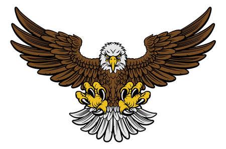 Dibujos animados de la mascota del águila americana calva que se abalanza con las garras y las alas extendidas. Versión de cuatro colores con solo marrón, gris claro, amarillo y negro.