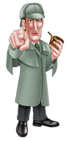 A cartoon Sherlock Holmes style Victorian detective character in deerstalker hat holding a pipe and pointing at the viewer Ilustração