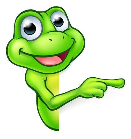 An illustration of a cute cartoon frog mascot character peeking around a sign and pointing Фото со стока - 72874166
