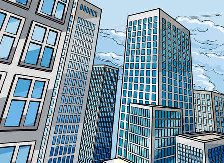 City skyscraper buildings background scene in a cartoon pop art comic book style Ilustração
