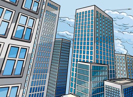 Stad wolkenkrabber gebouwen achtergrond scène in een cartoon pop art stripboek