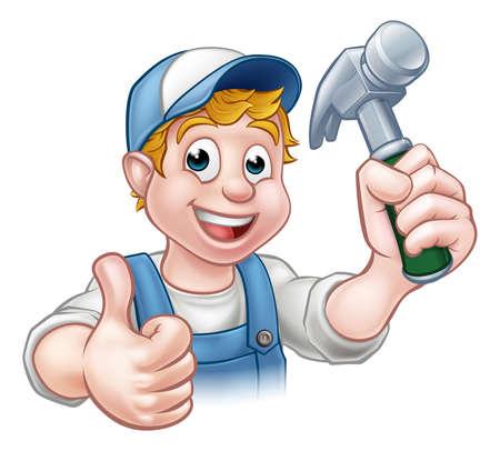 Een timmerman klusjesman stripfiguur met een hamer en het geven van thumbs up