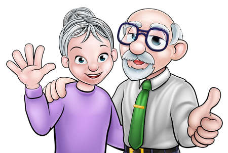 Cartoon senior elderly grandparents couple Illustration