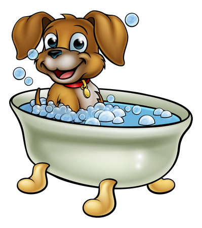 A cartoon dog having a bath with lots of bubbles