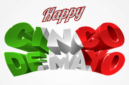 A Happy Cinco De Mayo label sign decal design in green red and white  イラスト・ベクター素材