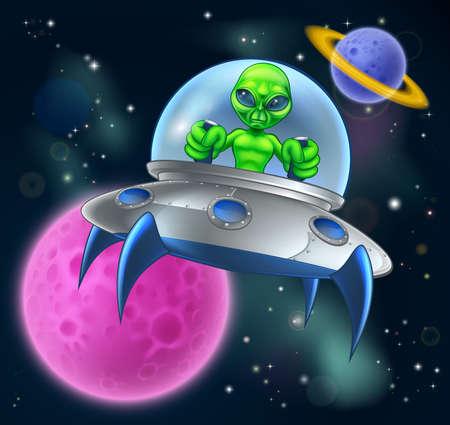 Dessin animé vaisseau spatial extraterrestre ou soucoupe volante dans la scène de l'espace avec une lune et des planètes en arrière-plan