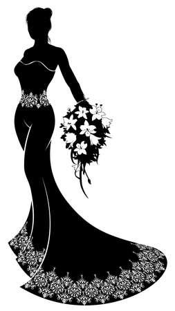 Bruid bruiloft paar in silhouet met de bruid in een patroon bruidsjurk jurkje met een abstract bloemenpatroon concept met een bloemen bruiloft boeket bloemen