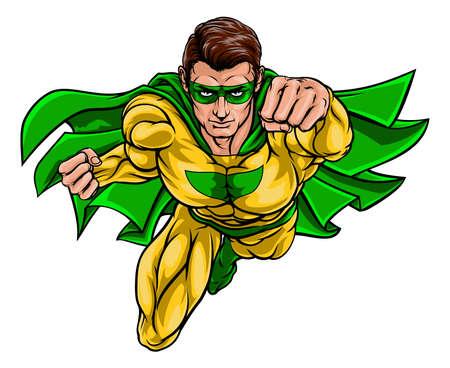 Cartoon superhero in a pop art comic book style