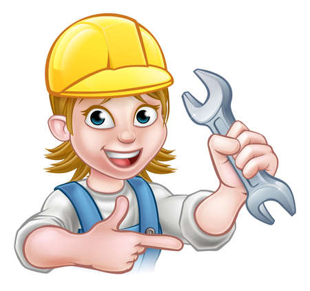 A plumber or mechanic handyman cartoon character holding a spanner and pointing 向量圖像