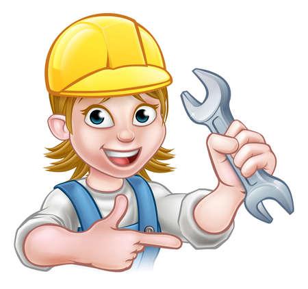 Ein Klempner oder Mechaniker Handyman Cartoon-Figur mit einem Schraubenschlüssel und Zeige
