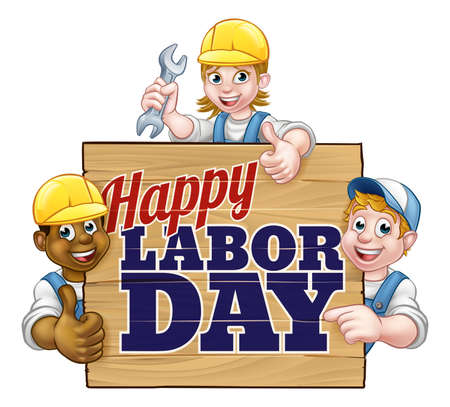 A Happy Labor Day sign design with cartoon workers