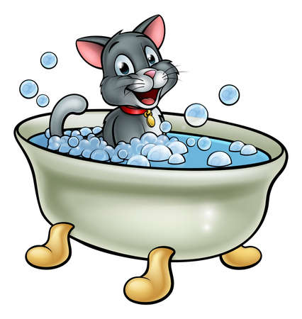 A cartoon cat washing in the bath with bubbles 일러스트