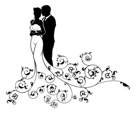 A bride and groom couple silhouette wedding illustration, in a white bridal dress gown with abstract floral pattern