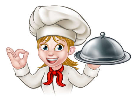 A female woman chef cartoon character holding a plate or platter cloche