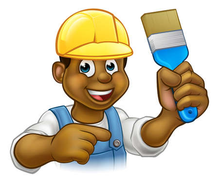 A handyman painter decorator cartoon character holding a paintbrush and pointing Vetores