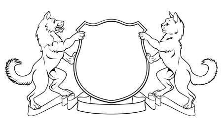 Cane e gatto cappotto cresta di armi scudo araldico con animali fiancheggiano dilagante sulle zampe posteriori