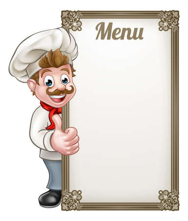 Cartoon chef or baker character giving thumbs up with menu sign board Ilustração
