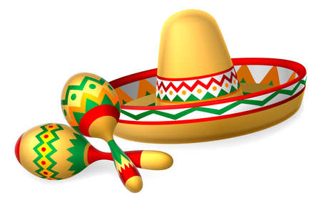 A Mexican sombrero hat and maracas shakers illustration