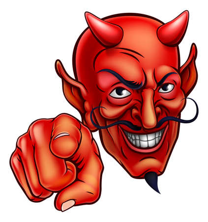 An evil looking devil character pointing at the viewer