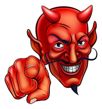 Een kwaadaardig duivelspersoon dat op de kijker wijst Stock Illustratie
