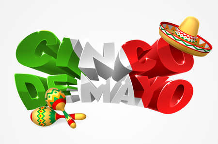 A Cinco De Mayo label sign decal design in green red and white with Mexican sombrero straw sun hat and maracas shakers Illustration