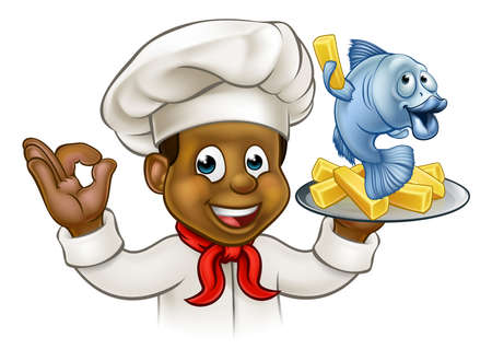 A cartoon black chef character holding fish and chips meal