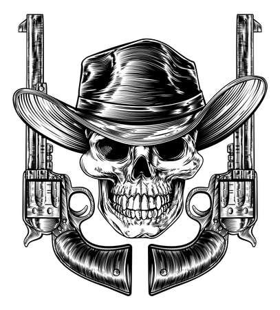 Cowboy skull in a western hat and a pair of gun revolver handgun six shooter pistols drawn in a vintage retro woodcut etched or engraved style