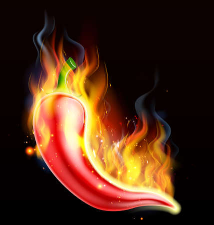 A hot spicy red chilli pepper on fire, covered in flames Ilustração