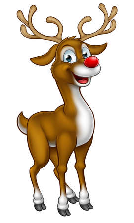 A cartoon Christmas reindeer character with a red nose