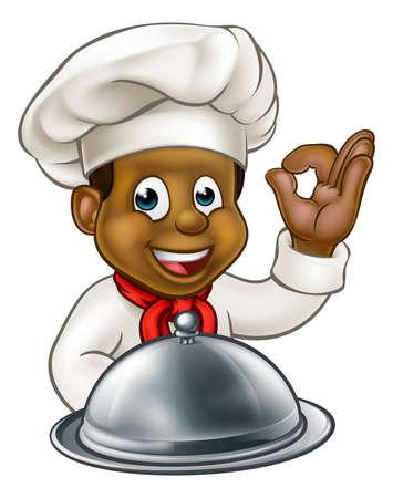 Cartoon black chef or baker holding a silver cloche food meal plate platter and giving a perfect okay delicious cook gesture Illustration