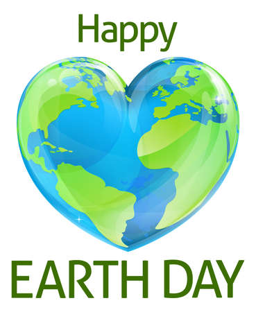 A Happy Earth Day design with a heart shaped world globe design