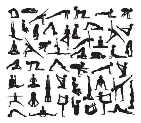 Una serie di posizioni yoga dettagliate e posture sagome Archivio Fotografico - 74293374