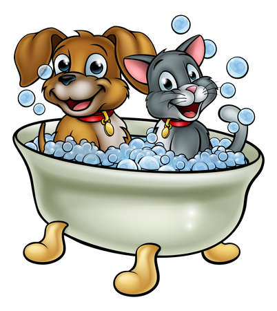 Animali del gatto e del cane del fumetto che lavano nel bagno con le bollicine