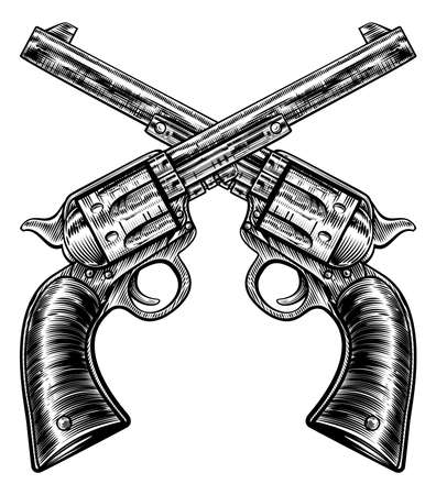 A pair of crossed gun revolver handgun six shooter pistols drawn in a vintage retro woodcut etched or engraved style Stock Illustratie