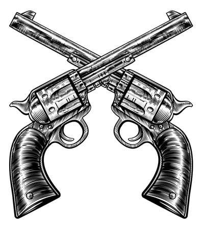 Un par de armas de pistola de revólver cruzado pistola seis pistolas de tirador dibujado en un grabado retro vintage grabado o grabado estilo grabado Ilustración de vector