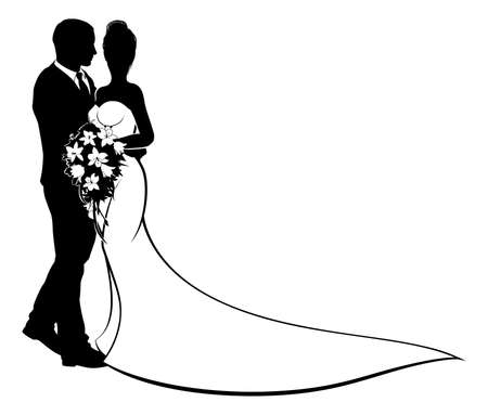 A bride and groom silhouette, in a bridal dress gown holding a floral wedding bouquet of flowers Vectores