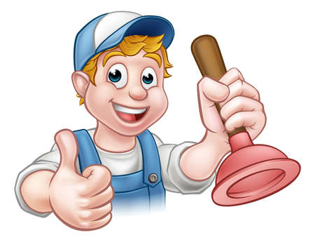 A plumber handyman cartoon character holding a plunger and giving a thumbs up Vetores