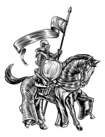 Un caballero que sostiene una lanza o una lanza con la bandera de la bandera y el escudo en la parte posteriora del caballo en un grabado grabado o grabado al agua fuerte medieval del grabado de la vendimia