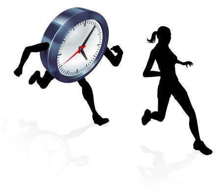 A woman running from a clock or racing it concept for time pressure or work life balance, being stressed, racing a deadline or getting a record time
