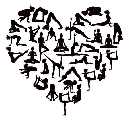 A heart shaped set of detailed yoga poses and postures silhouettes