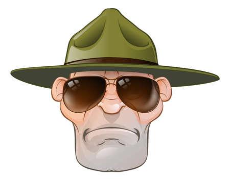 Un sargento enojado campo de entrenamiento del ejército de dibujos animados taladro o agente estatal o de guardaparques
