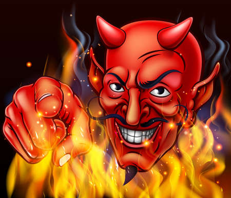 A devil surrounded by flames and fire pointing at the viewer Illustration
