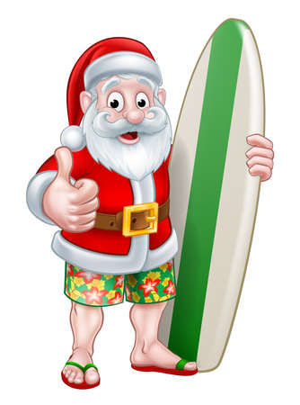Santa Claus cartoon character holding a surf board and giving a thumbs up in his board shorts and flip flop thongs sandals