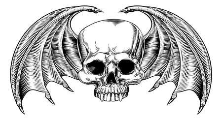 A cranio ali e di pipistrello o drago disegnato in una xilografia retrò vintage acidato o stile inciso