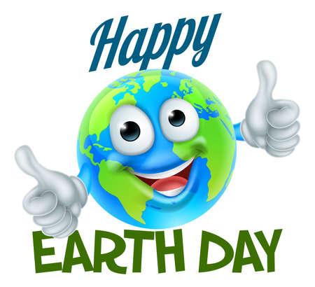 Un diseño feliz del Día de la Tierra con un personaje de dibujos animados del globo del mundo