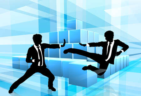 Business people fighting in martial arts or karate style with an abstract blue background. Competition concept