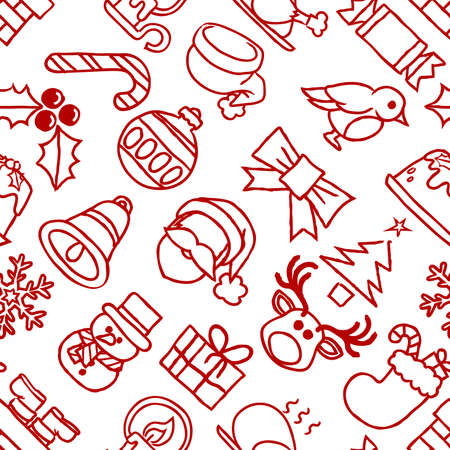 A Christmas seamless tiling pattern background like those on festive gift wrapping paper Illustration