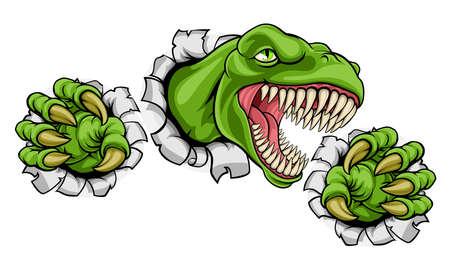 Una mascota del dinosaurio del Tyrannosaurus de T Rex de la historieta que rasga a través del fondo con sus garras